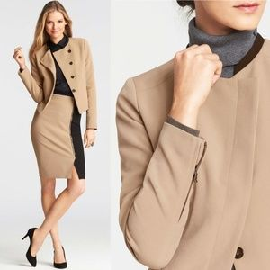 Ann Taylor Asymmetrical Button Blazer 14 Camel